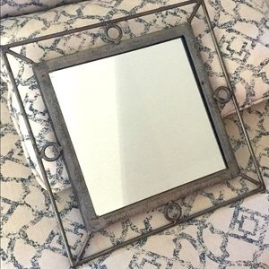 """Brushed metal 14"""" accent mirror"""